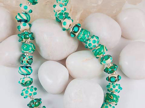 Aqua and Sand- Lampwork Glass Beads