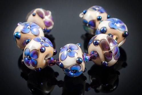 Spring Violets- Lampwork Glass Bead Set