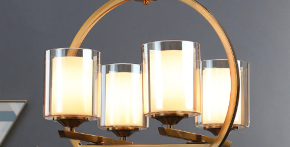 Brass and White Metal and Glass Chandelier