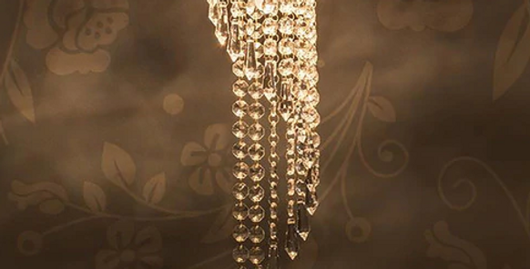 Gold Brass and Crystal Chandelier