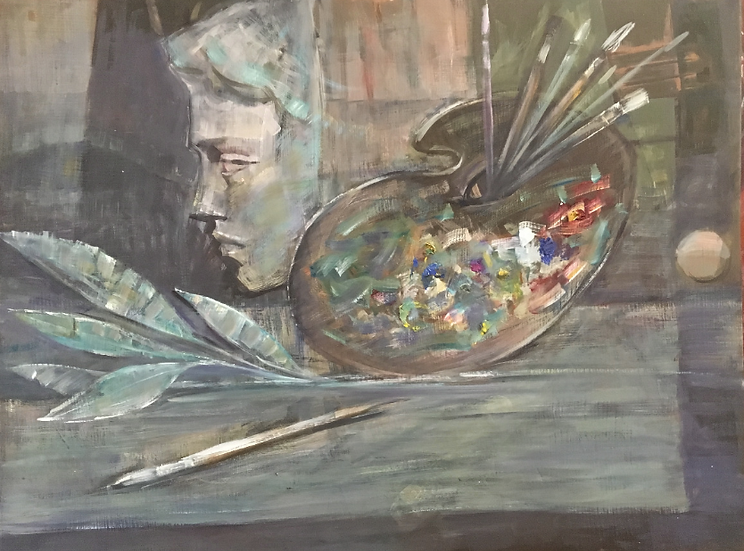 Still life with woman's bust and painter's palette