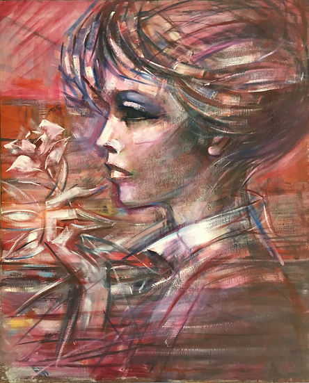 Bust of woman with flower in her hand. Red tones