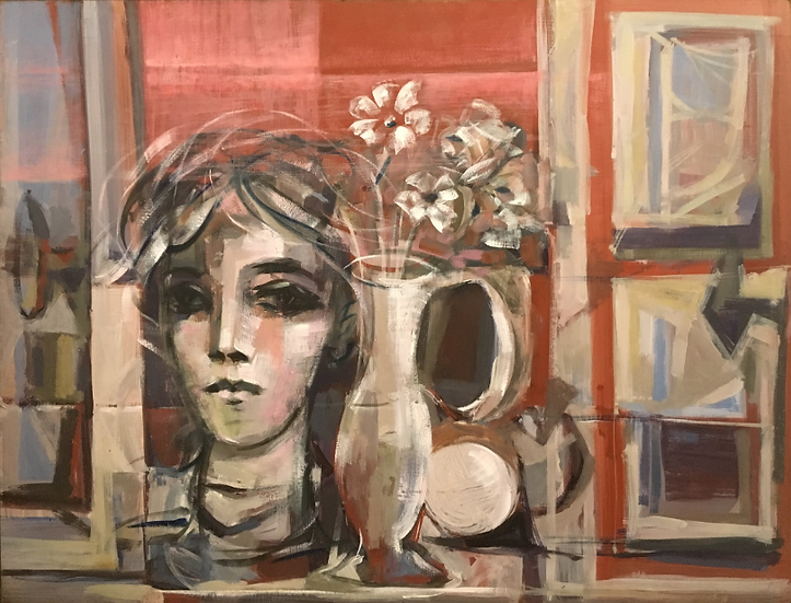 Still life with woman bust and window