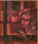 Busto de mujer, ventana y manzana