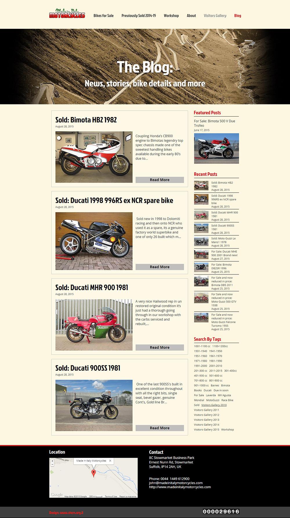 עיצוב בלוג לאתר אופנועים