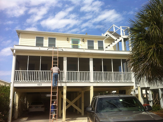 Four stories of new decking and railing