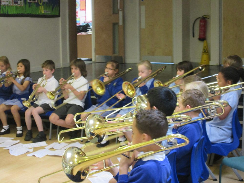 Elm class today performed on their brass instruments today to parents. They were amazing !