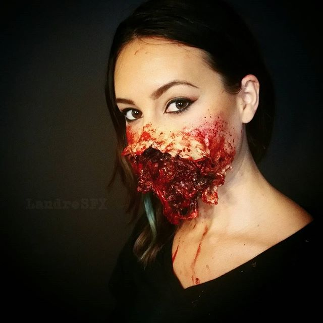Blown Off Face Mask with prosthetics
