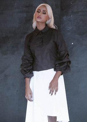 Ruffled Shirt Blouse in Black