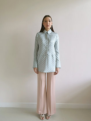 Beige Boot Cut Tailored Trousers
