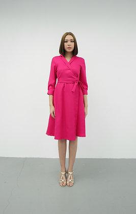 Wrap Flare Dress in Fuchsia Pink
