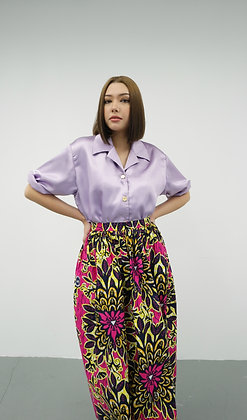 Lilac Oversized Silk Top