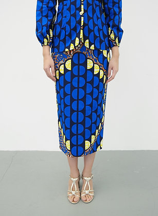 Sapphire African printed Pencil Skirt in Blue