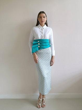 Green Polka Dot Pencil Skirt with Teal Drape Waist Belt