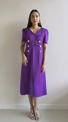 Purple Silk Flare Military Button Dress