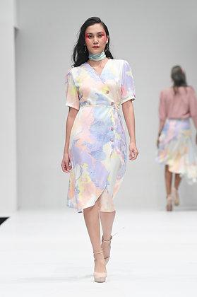 Printed Lilac Wrap Dress