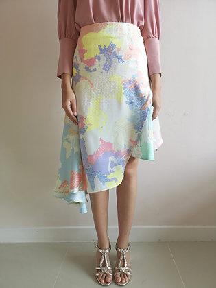 Asymmetrical Mix Printed Skirt