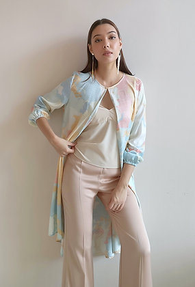 Printed Blue Silk Cardigan With Inner top