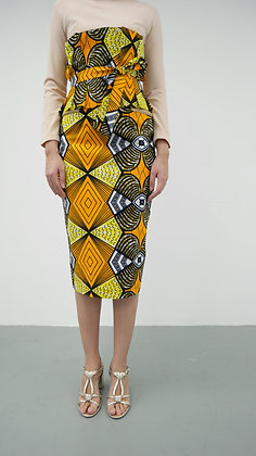 Calista African Printed Pencil Skirt with Obi Belt