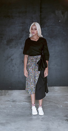Iris Print A-Line Ruffled Skirt