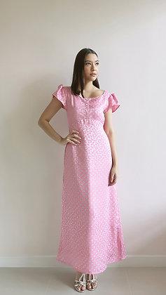 Polka dot pink maxi dress