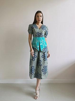Green Printed A-Line Dress with Lace Peplum Waist Belt