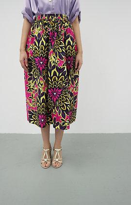 'Amara' Fuchsia African Printed Flare Skirt