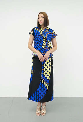 Sapphire African Printed A-Line Spiral Skirt in Blue Print