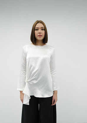 Side Pleated Blouse in White