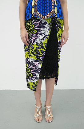 Venus African Printed Pencil Skirt with Lace