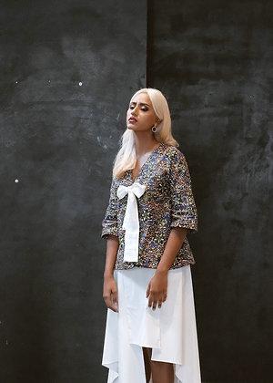 Iris Print Kimono Bow Blouse