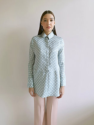 Green polka dot shirt blouse