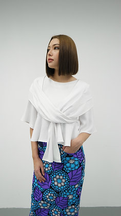 White Pleated Flare Blouse