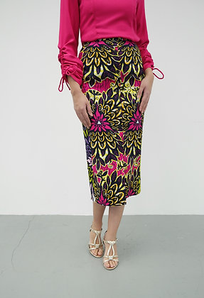 African Printed Pencil Skirt with Front Buttons in Fuchsia Pink