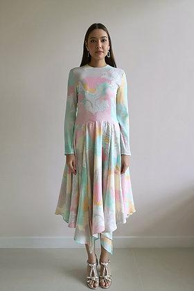 Printed Green Asymmetrical Silk Dress