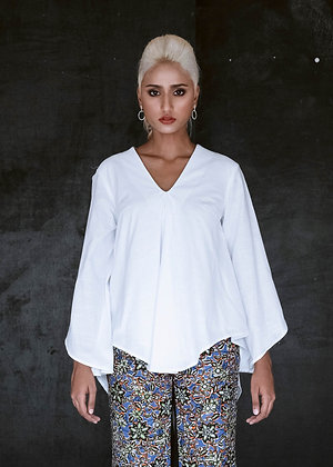 Loose Pleated Sleeve Slit Top in White