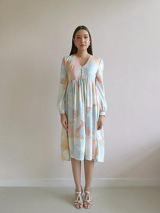 Printed Blue Pleated Dress