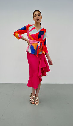 Frill Drape Skirt in Fuchsia Pink