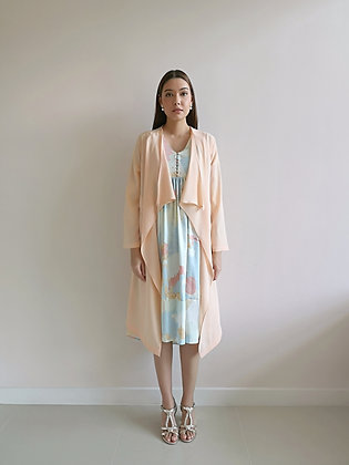 Long Drape Cardigan in Peach