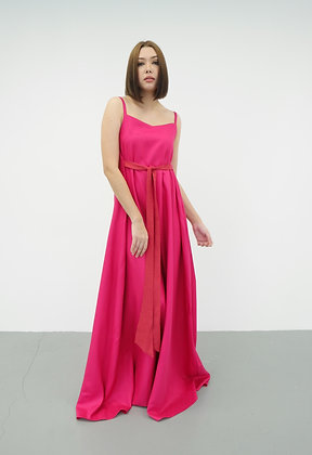 Maxi A-Line Dress in Fuchsia Pink
