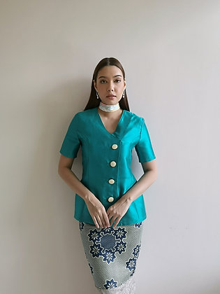 Teal green Shantung Top