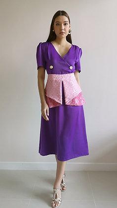 Purple Silk Flare Military Button Dress with Pink Peplum belt
