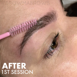 Close up Thick Brow Microblading