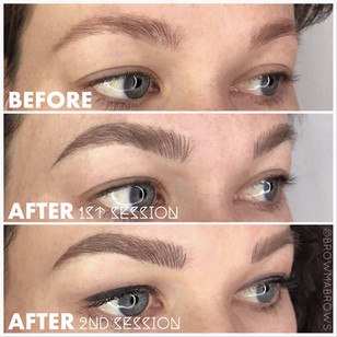 Before and after Microblading Full Brow