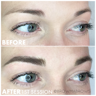 After 1st Session Microblading Dark Hair