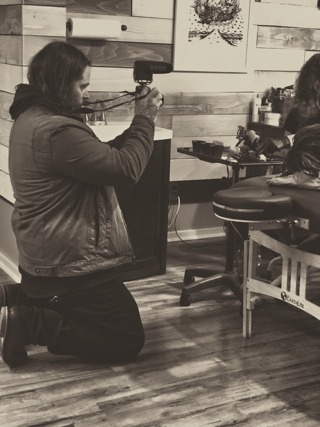 Shawn Mcdonald capturing Meredith & HH Little Sky tattooing at Terrarium Tattoo in Fort Collins, Colorado