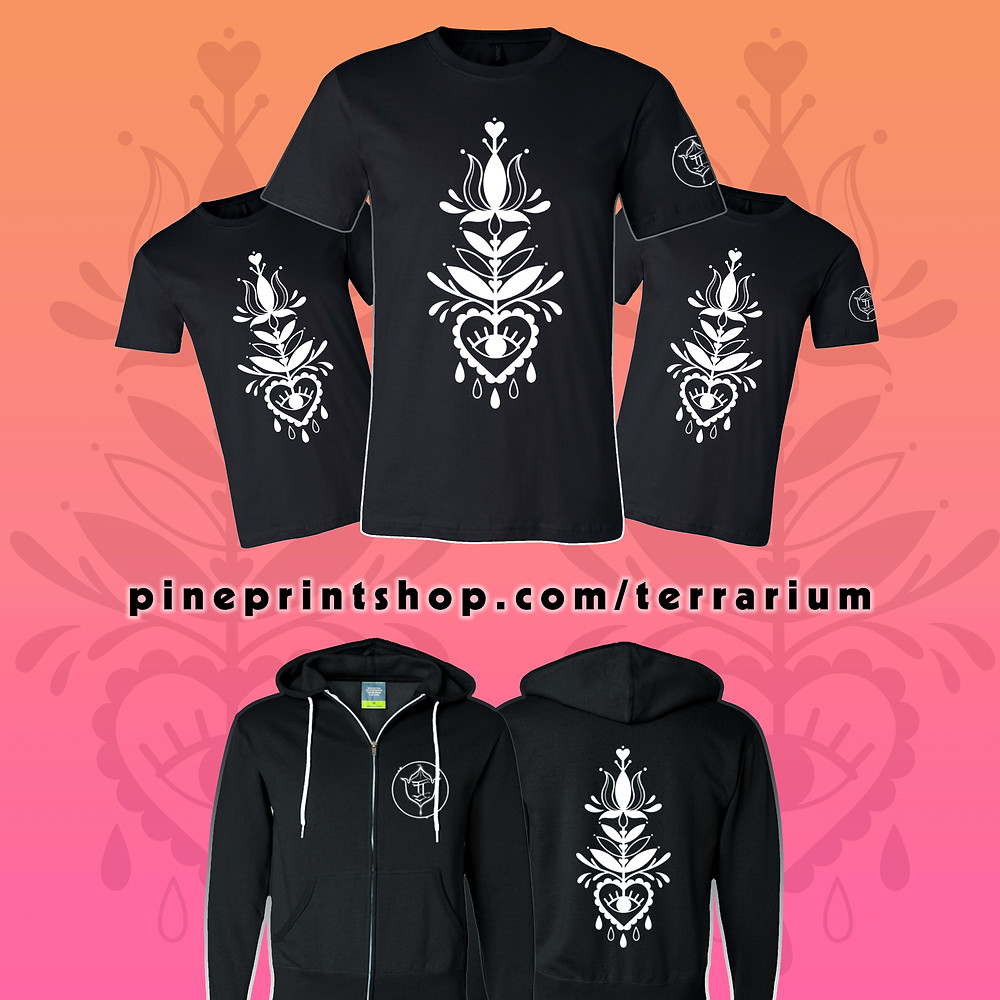 Pine Print Shop Department of Merch And Fullfillment launches Pine Center for Distanced Shopping (CDS) & Terrarium Tattoo's Meredith Little Sky Collab T-shirt & Hoodie featuring a Feminine Floral Folksy Design