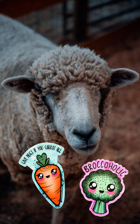 Vegan Glitter KAWAII Sticker Pack - Give Hugs if you carrot all