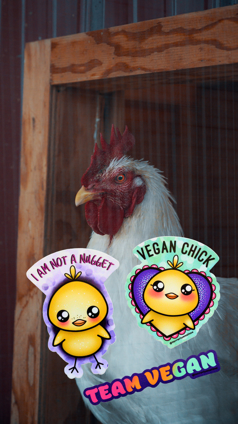 Vegan Glitter KAWAII Sticker Pack - Chickens are not Nuggets!