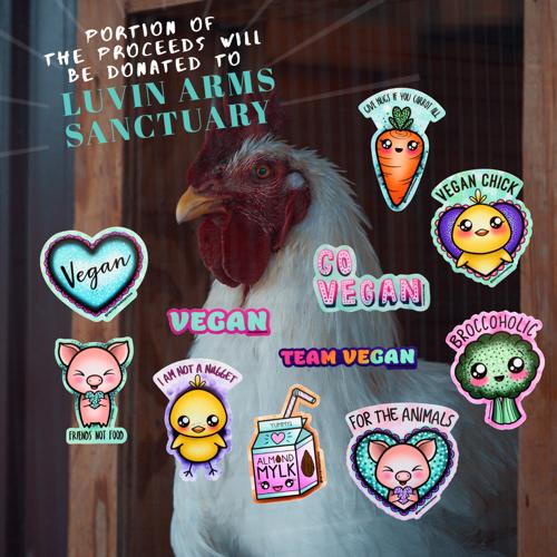 11 Indoor/Outdoor Glitter KAWAII Sticker Pack FOR VEGANS